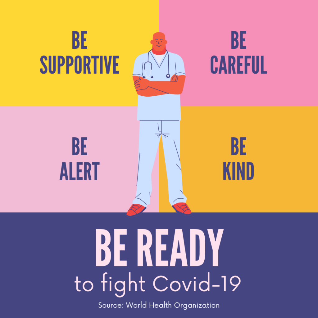 Yellow Pink and Purple Be Ready to Fight Covid-19 Instagram Post